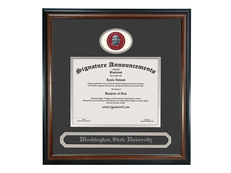 Sculpted Foil Seal /& Name Graduation Diploma Frame 20 x 20 Matte Mahogany Signature Announcements Washington-State-University Undergraduate