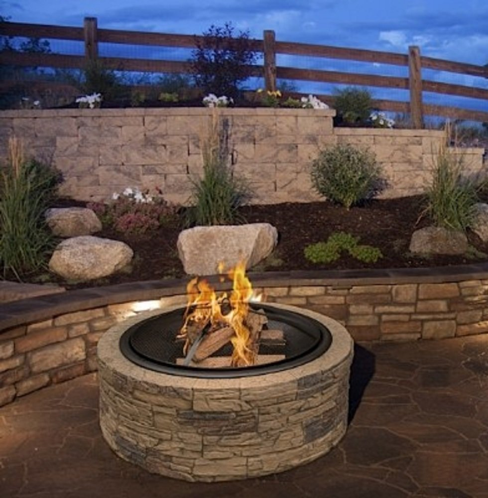 Cast Stone Wood Burning Fire Pit 35 Diameter Steel Base By Huntington Cove w 26 Mesh Screen Spark Protector w Lift Hook, Large Heat Resistant Fire Bowl, Appealing Medium Brown Simulated Stone Base