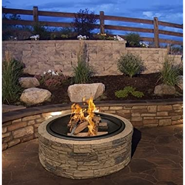 Cast Stone Wood Burning Fire Pit 35  Diameter Steel Base By Huntington Cove w/ 26  Mesh Screen Spark Protector w/ Lift Hook, Large Heat Resistant Fire Bowl, Appealing Medium Brown Simulated Stone Base