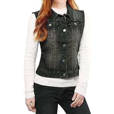 Allegra K Women's Buttoned Washed Denim Vest Jacket w Chest Flap Pockets at Women's Coats Shop