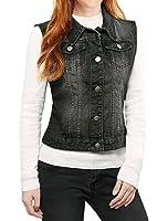 Allegra K Women's Buttoned Washed Denim Vest w Flap Pockets