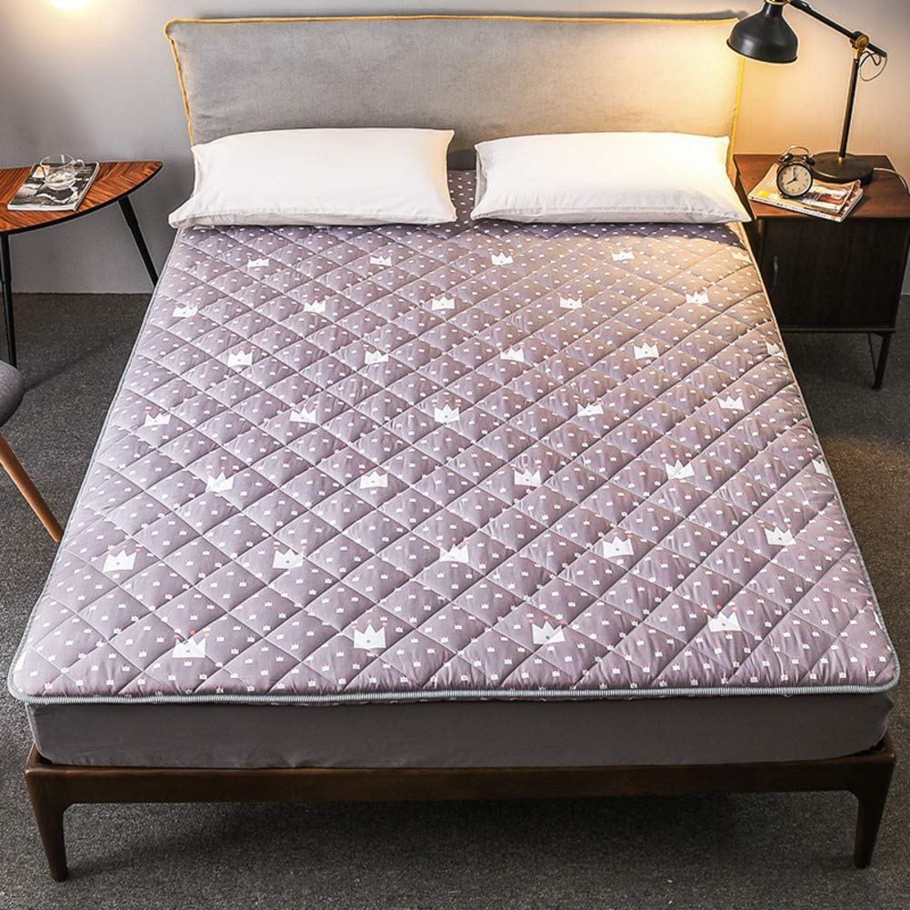 F 150x190cm(59x75inch) Comfort Tatami Mattress Futon,Soft Foldable 2-3 cm Thick Non-Slip Compact Predection Mat Student Dorm Home Double Bed-H Queen 150x200cm