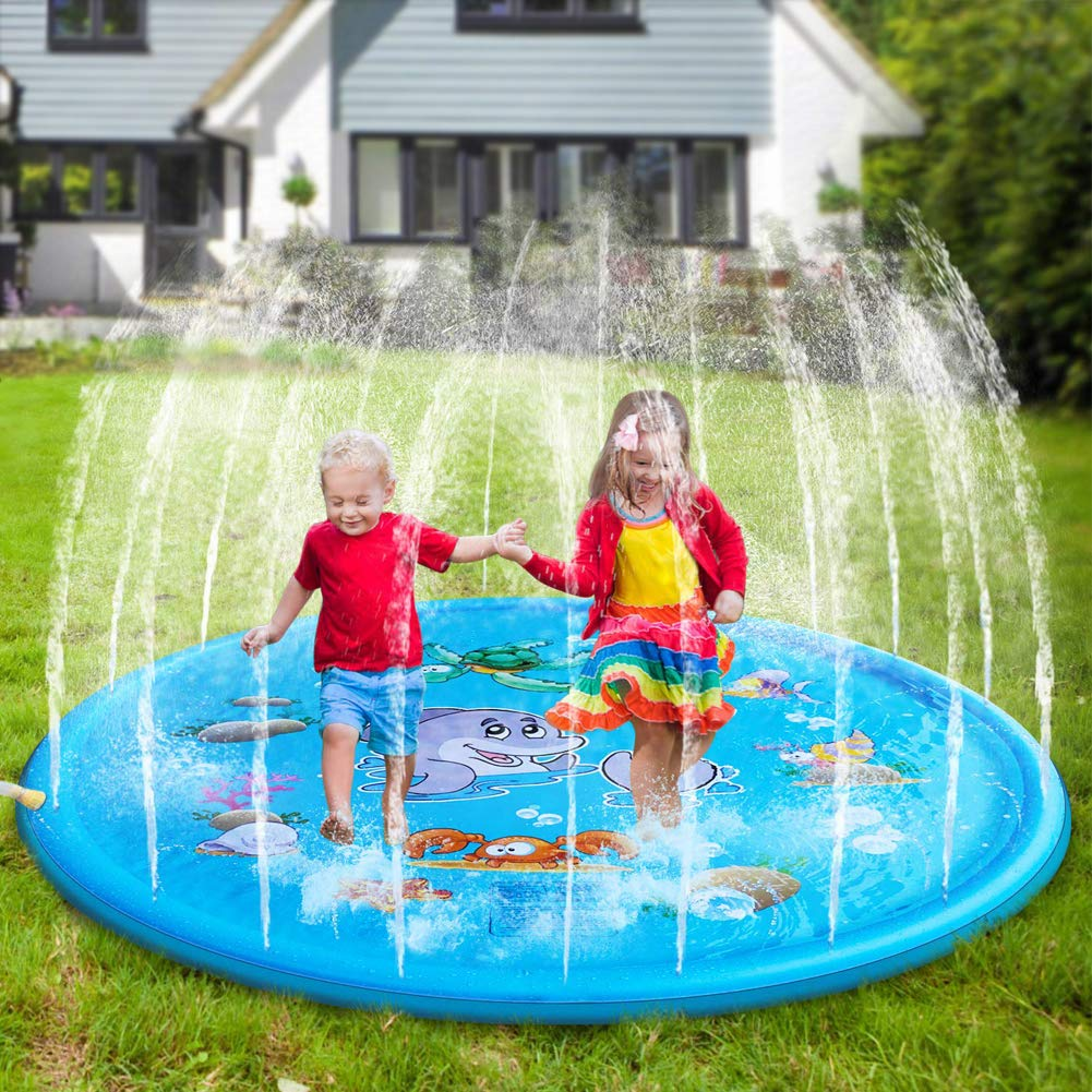 Flow.month Sprinkler Pad and Splash Play Mat 68'' Kids Children Toddler Outside Water Toys Fun for 1 2 3 4 5 Year Old Boy Girl Outdoor Party Sprinkler Toy Splash Pad by Flow.month