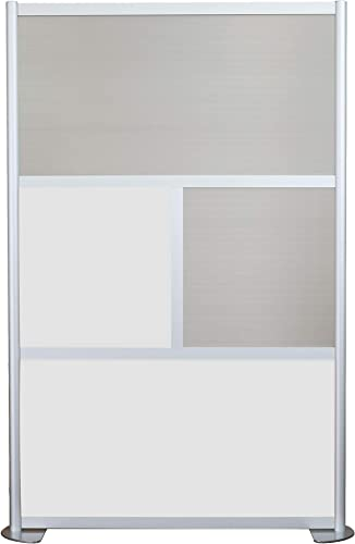 SpaceMakers 4 Panel Room Divider 52 w x 78 t White, Locking Caster Base
