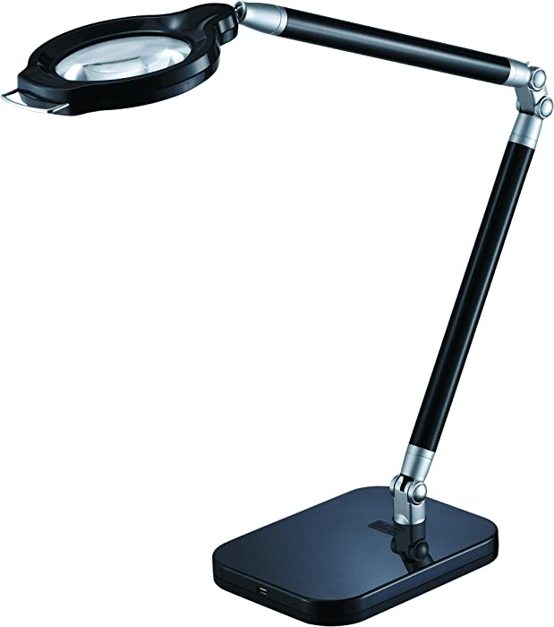 BLACK+DECKER PureOptics Summit Zoom Magnifier 10W Flicker-Free Natural Daylight LED Desk Lamp, 5-Diopter Lens, USB Port, 6 Dimming Levels (416 Lumens), Black (LED10ARCMAG-BLK)