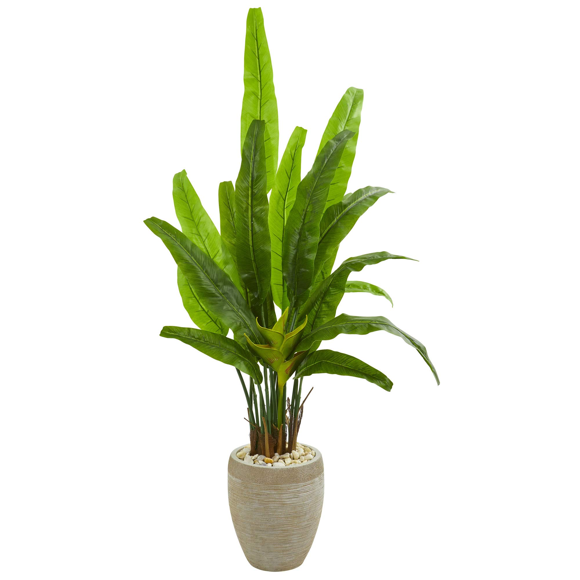 Nearly Natural 9271 64-in. Travelers Palm Artificial Sand Colored Planter Silk Trees Green