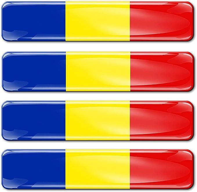 Biomar Labs 4 X Aufkleber 3d Gel Silikon Stickers Rumänien Romania Rumänische Flagge Fahne Flag Autoaufkleber F 18 Auto