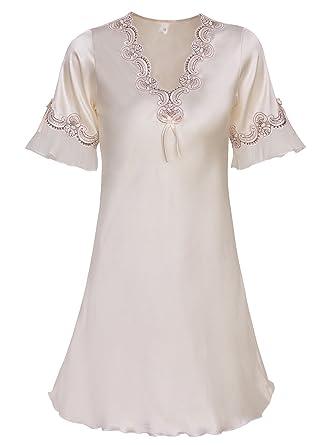 999854fd56 Viqiv Nightshirt Womens Satin Sleepwear Robe Silk Lace Nightgown Bathrobe  Nightwear For Wedding Bridal Party Light