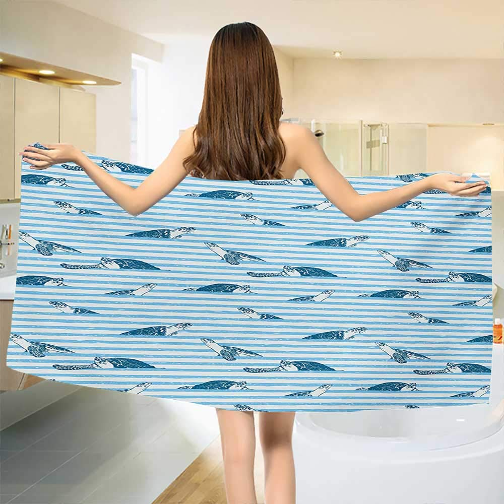 Chaneyhouse Striped,Baby Bath Towel,Turtles and Blue Stripes Abstract Print Aquatic Theme Caretta Ocean Animals Pattern,Print Wrap Towels,Blue Navy Size: W 10'' x L 39.5''