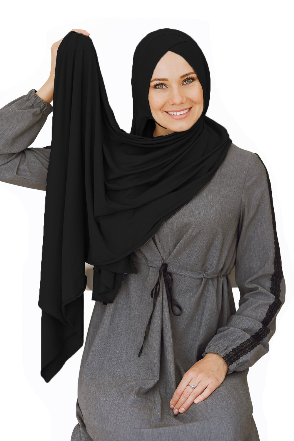 Cotton head scarf, instant black hijab, ready to wear muslim accessories for women (Black) by VeilWear (Image #5)