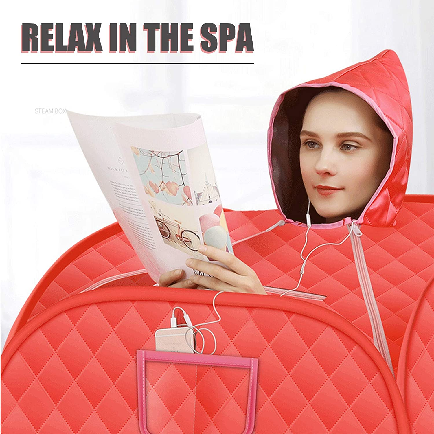 Remote Control Foldable Chair Personal Sauna with 15 Temperature Levels Kacsoo Portable Steam Sauna Therapeutic Sauna Home Spa for Weight Loss Detox Relaxation 2.2L Home Steam Sauna Tent