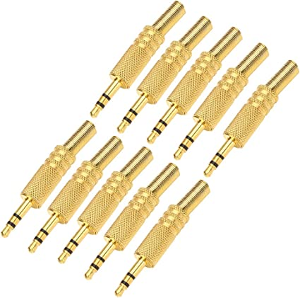 """10pcs 3.5mm 1//8/"""" Audio Male Plug Jack Adapter Stereo Connector for Headphone"""
