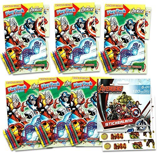 Marvel Avengers Captain America Party Favors Packs Bundle -- 6 Sets with Captain America Stickers, Coloring Books, Crayons and More (Party Supplies) -