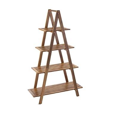 Sunset Garden SG-105NTR   Cascade Shelf   4-Tier Real Wood Ladder Bookcase, Natural