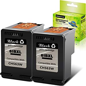 GREENCYCLE High Yield Remanufactured CH563WN 61XL Ink Cartridge Compatible for HP DESKJET 1000 1512 2050 2548 3054 OFFICEJET 2620 4632 Envy 5534 4501 5532 (Black,2 Pack)
