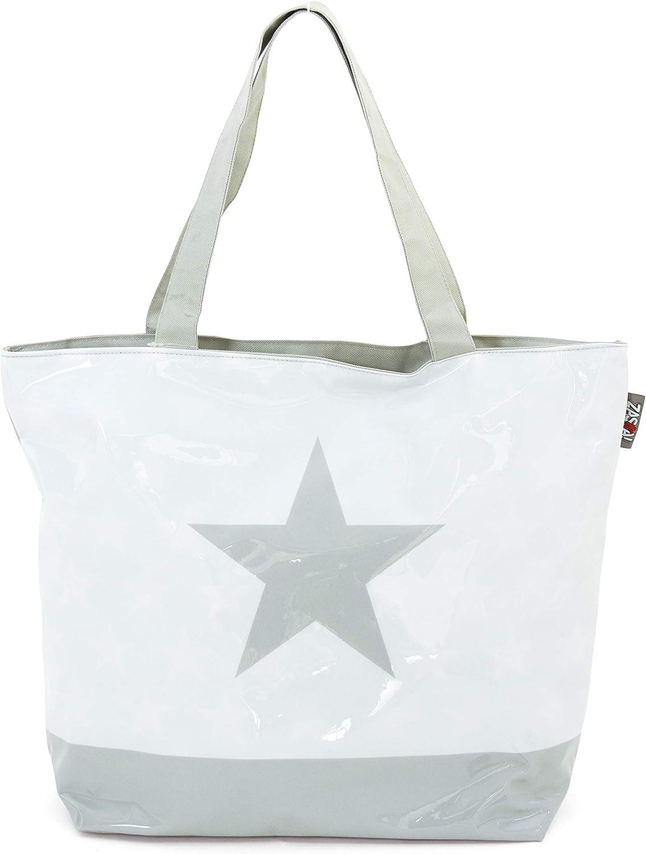 ARDITEX Grand sac de plage en pvc avec fermeture /à glissi/ère mod/èle Etoile 52x40x15cm 3 assortis Travel Tote Multicolour Multicolore 52 cm