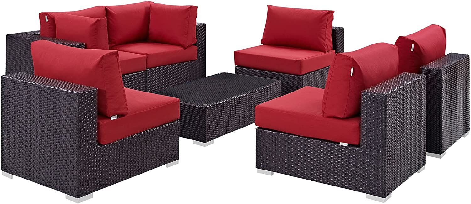 Modway Convene 7-Piece Outdoor Patio Sectional Set in Espresso Red