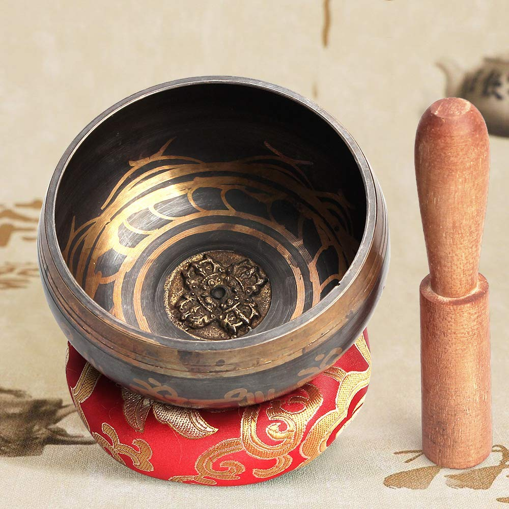 QStyle Tibetan Singing Bowl Set,Meditation Sound Bowl With Mallet and Cotton Cushion Yoga Singing Bowl for Meditation, Healing, Prayer, Mindfulness by QStyle