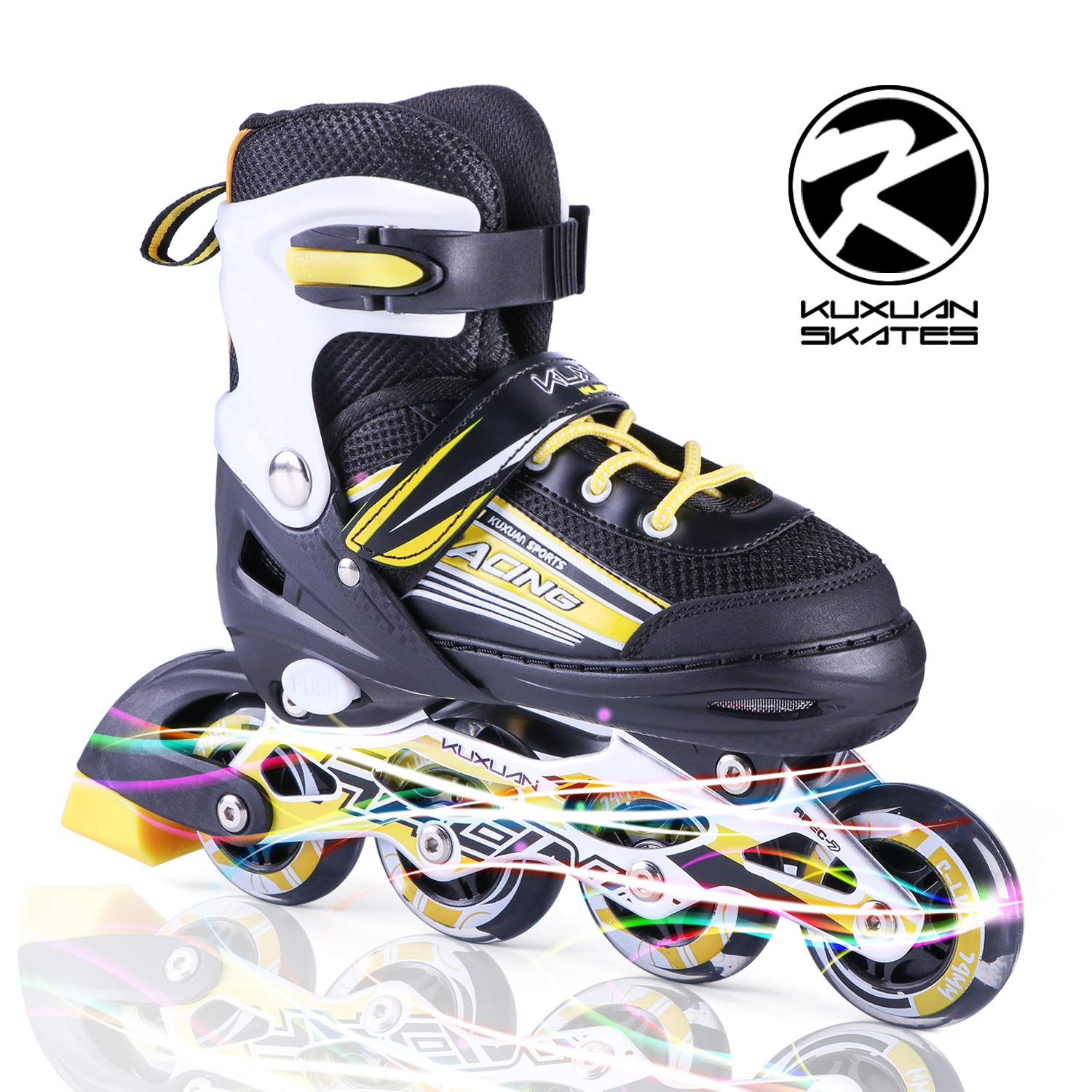 Kuxuan Sayo Inline Skates Adjustable for Kids,Boys Skates with All Wheels Light up,Fun Illuminating for Girls and Youth - Yellow L