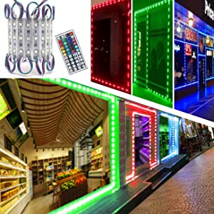 LED Storefront Lights, Pomelotree 40ft 80 Pieces Waterproof Decorative Light for Letter Advertising Signs, 4 Set 5050 SMD LED Light Module Storefront Window Strip Light(RGB Light)
