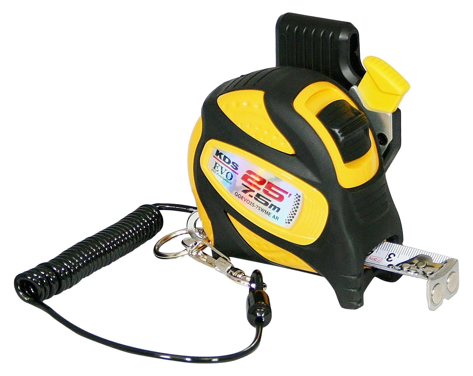 KDS GGEVO25-75WME AR BP GoodGrip Drop Protection Safety Measuring Tape, 1''/25', Yellow/Black
