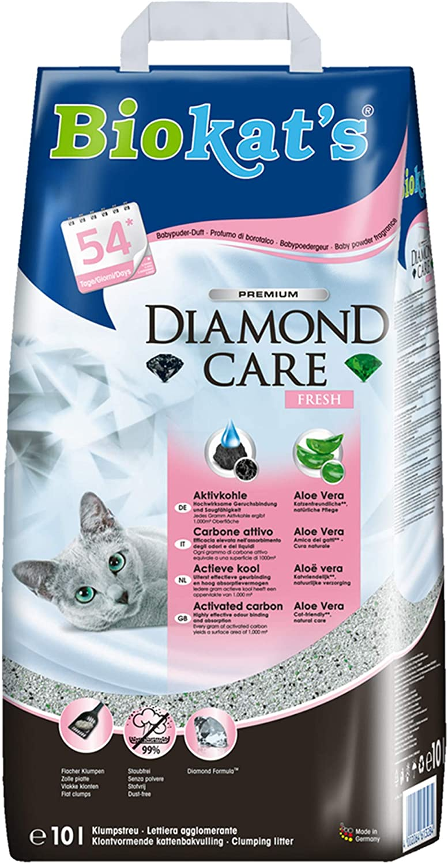 Biokat's Diamond Care Fresh, arena para gatos con fragancia – Arena aglomerante para gatos: de alta calidad, con carbón activo y aloe vera – 1 bolsa de papel (1 x 10 l)