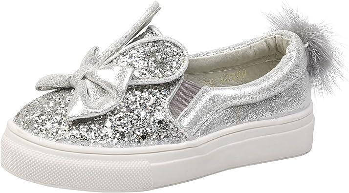 Girls Kids Children Infants Bow Slip On Flat Pumps Shoes Plimsolls Trainers Size