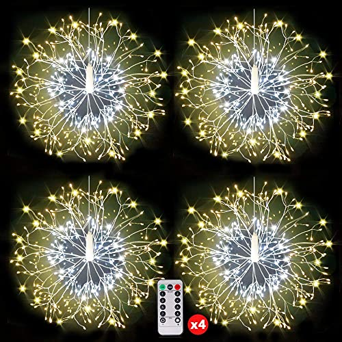 150LED Fairy Firework String Lights, Copper Lights,Battery Operated Starburst Light, 8 Modes Dimmable Christmas Decorative Twinkle Fairy Lights for Party Yard Garden Bedroom Warm White Pack of 4