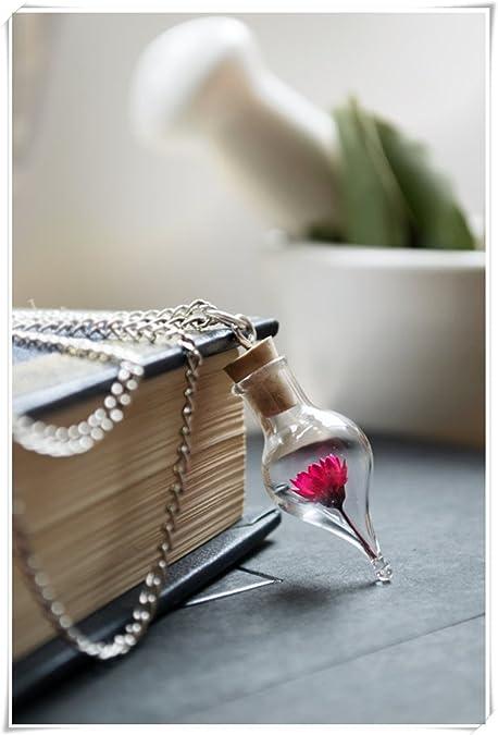 Colgante de rosa, diseño de flores, flor de preservar, personalizado Real de joyería