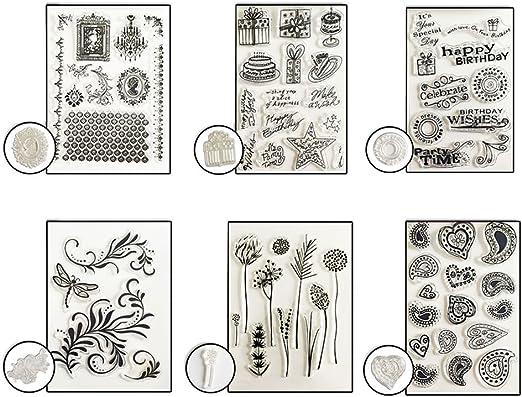 Pack de sellos de silicona, diseños variados, para scrapbooking ...