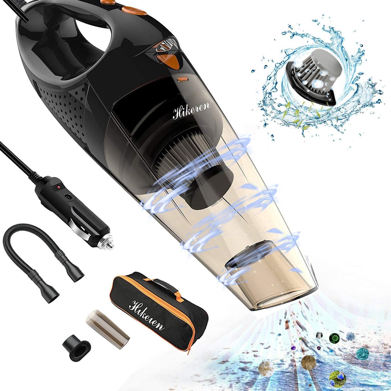 Hikeren - Aspirador de coche portátil y potente para coche, 100 W, con filtro HEPA de acero inoxidable, bolsa de almacenamiento para coche húmedo y seco: Amazon.es: Coche y moto