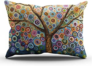 SALLEING Custom Pretty Cute Colorful Painting Trees Decorative Pillowcase Pillowslip Throw Pillow Case Cover Zippered One Side Printed 12x24 Inches