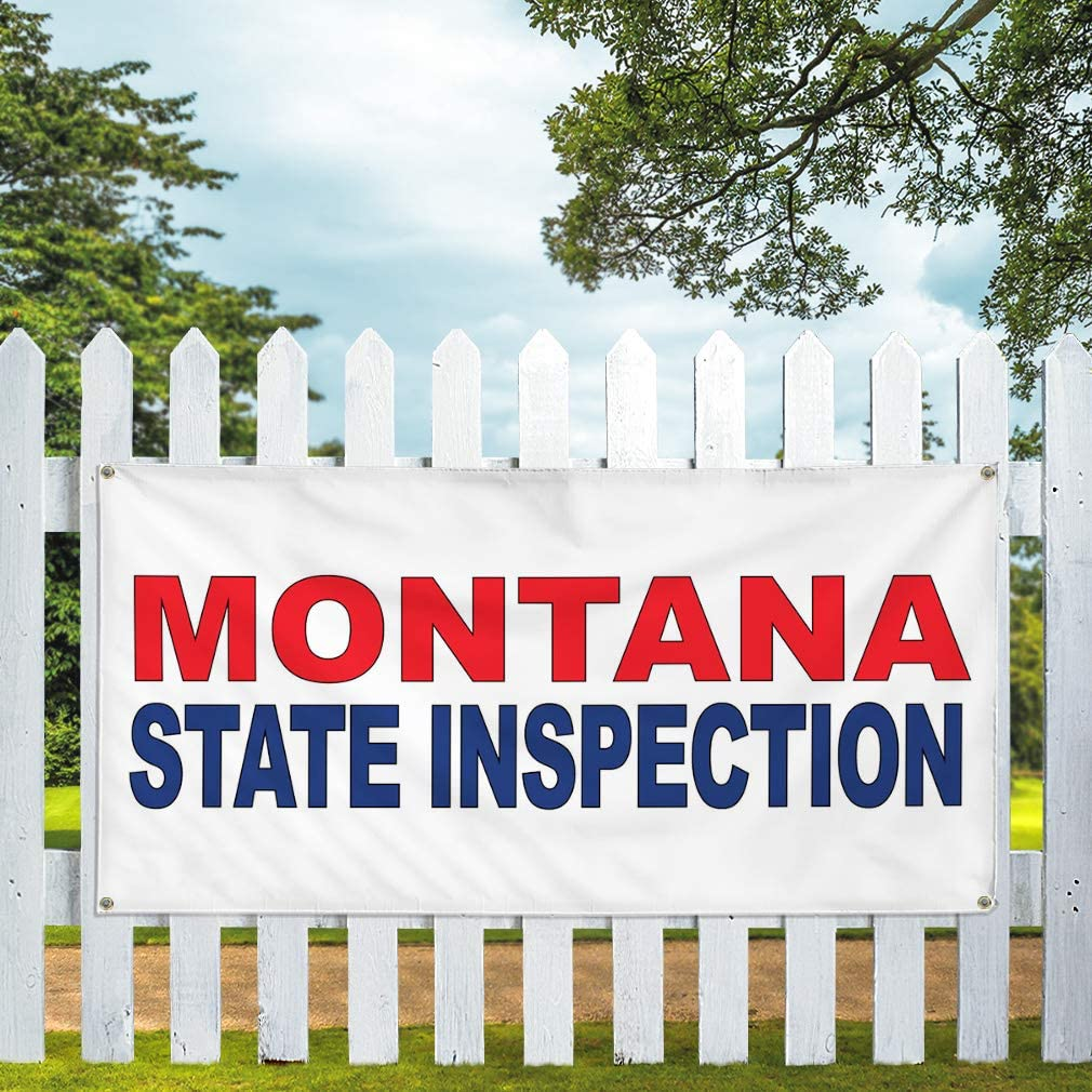 Vinyl Banner Multiple Sizes Montana State Inspection Red Blue Business Outdoor Weatherproof Industrial Yard Signs 8 Grommets 48x96Inches