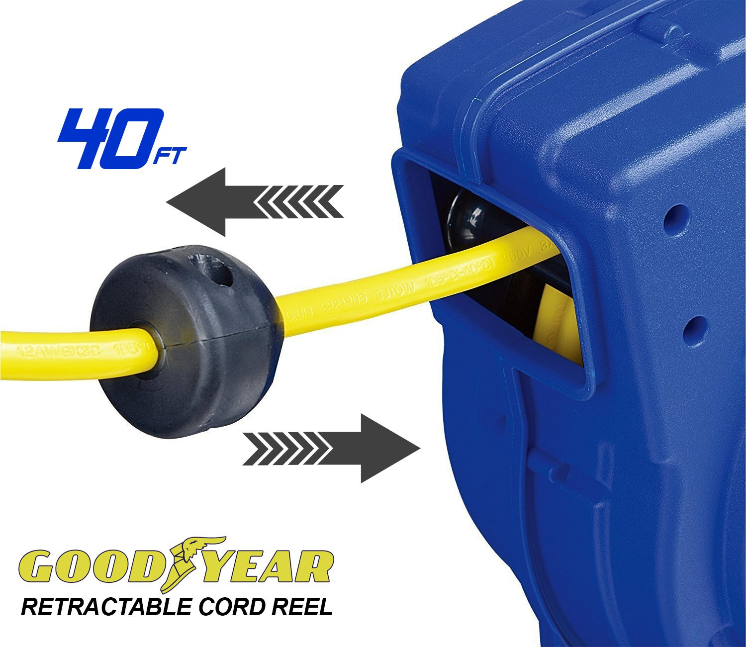 Goodyear Extension Cord Reel Heavy Duty, 40 ft., 12AWG/3C SJTOW, Triple Tap with LED Lighted Connector by Goodyear (Image #7)