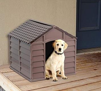 Caseta para perros de PVC, 71 x 71 x 68 cm, color beige / marrón: Amazon.es: Jardín