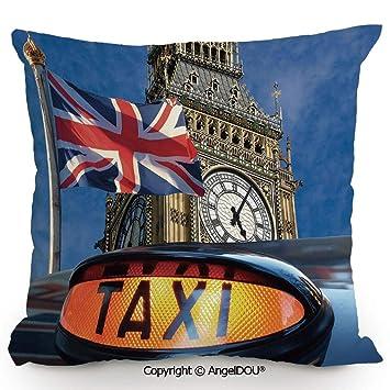 Amazon.com: AngelDOU Cotton Linen Square Throw Pillow,Union ...