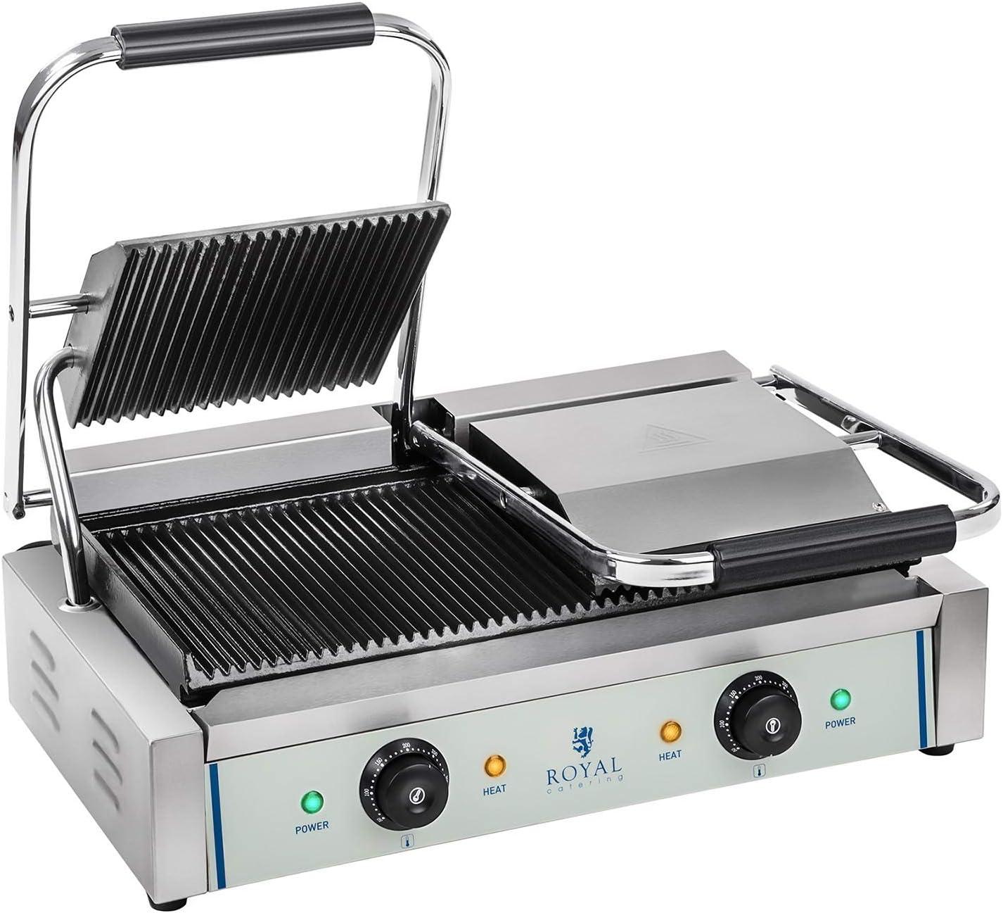 Royal Catering Plancha Grill Doble Salamandra Para Hostelería RCKG-3600-G (Superficie Ondulada,Temperatura Funcionamiento: 50-300 °C, 2 x 1.800 W)