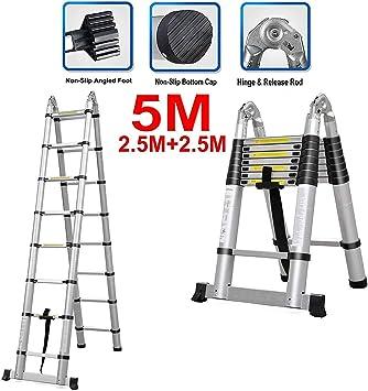 Escalera telescópica - 5m 16.5 pies Escaleras multifunción 16 pasos Plegado 2.5M + 2.5M Plegable expandible Fácil de llevar alto: Amazon.es: Bricolaje y herramientas
