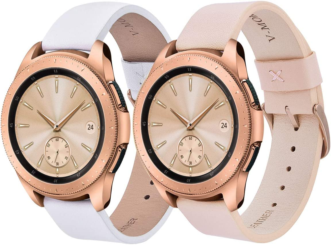 V-MORO Leather Band Compatible with Galaxy Watch 42mm Bands 2 Peck Softer Replacement for Samsung Galaxy Watch 42mm SM-R810/Galaxy Watch Active 40mm R500 (Pink+White)