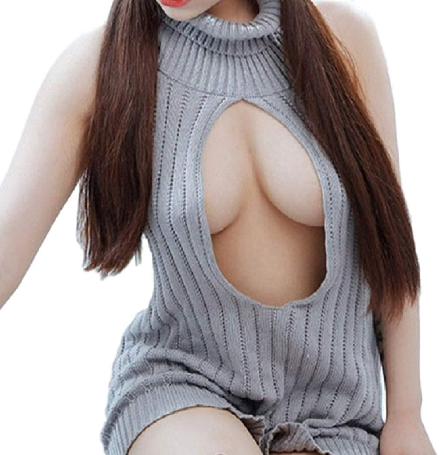 Elibelle Japanese Kawaii Sweaters for Women Sexy Backless Hollow Out Anime Cosplay(LX-GR)