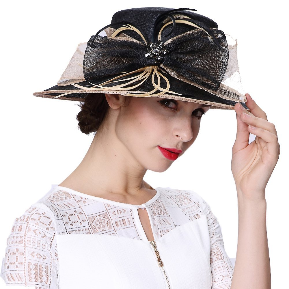 June's Young Women's Hats Summer Hats Sinamay Bow 2 Tone Colors Black/Taupe