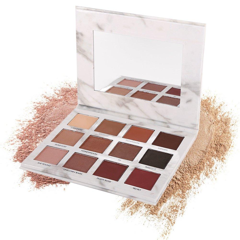 Eyeshadow Palette, Shouhengda Matte Smoky Shimmer Glitter Eyeshadow Primer 12 Colors Waterproof Marble Makeup Palette Cosmetics