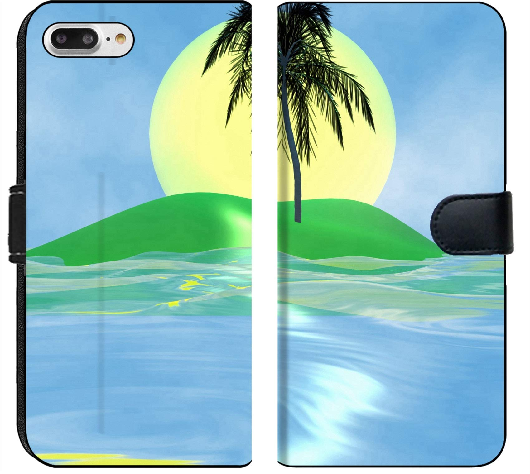 Luxlady iPhone 7 Plus Flip Fabric Wallet Case Solar island with a palm tree in the huge dark blue sea IMAGE ID 2842537