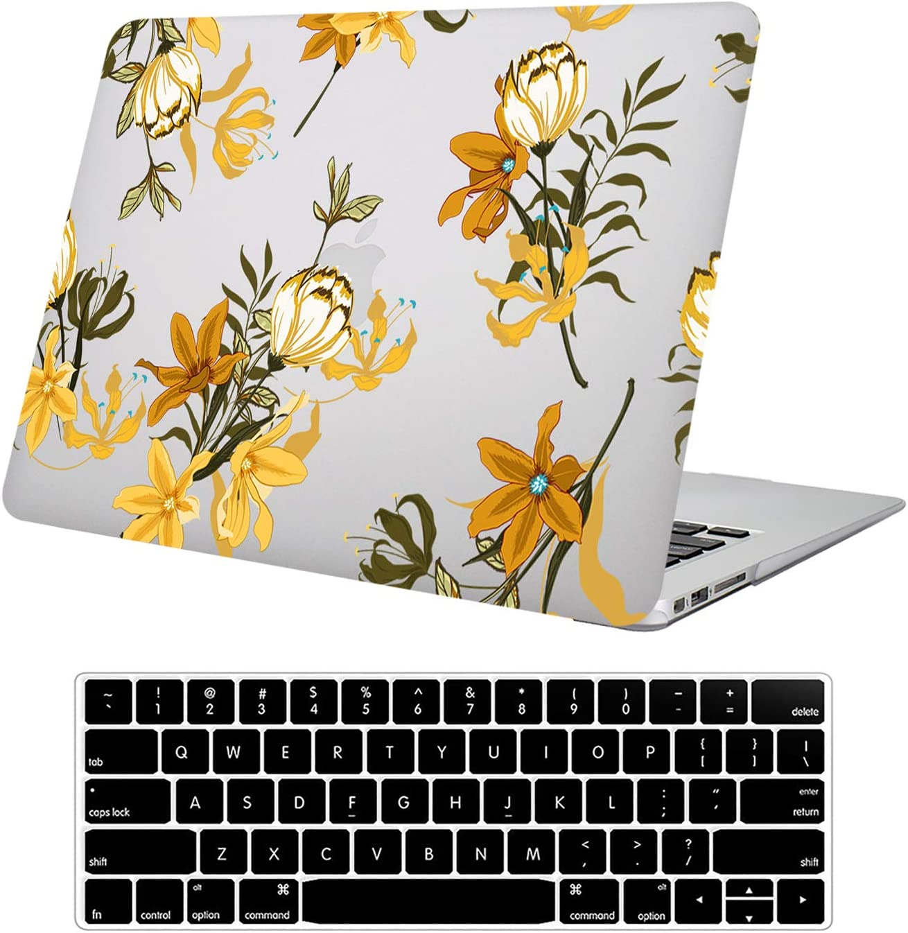 Compatible with MacBook Pro 13 Inch Case Retina Display 2015-2012 Release A1502/A1425,Funut Clear Plastice Hard Case Protective Cover with Keyboard Cover for MacBook Pro 13 Inch Retina, Flower