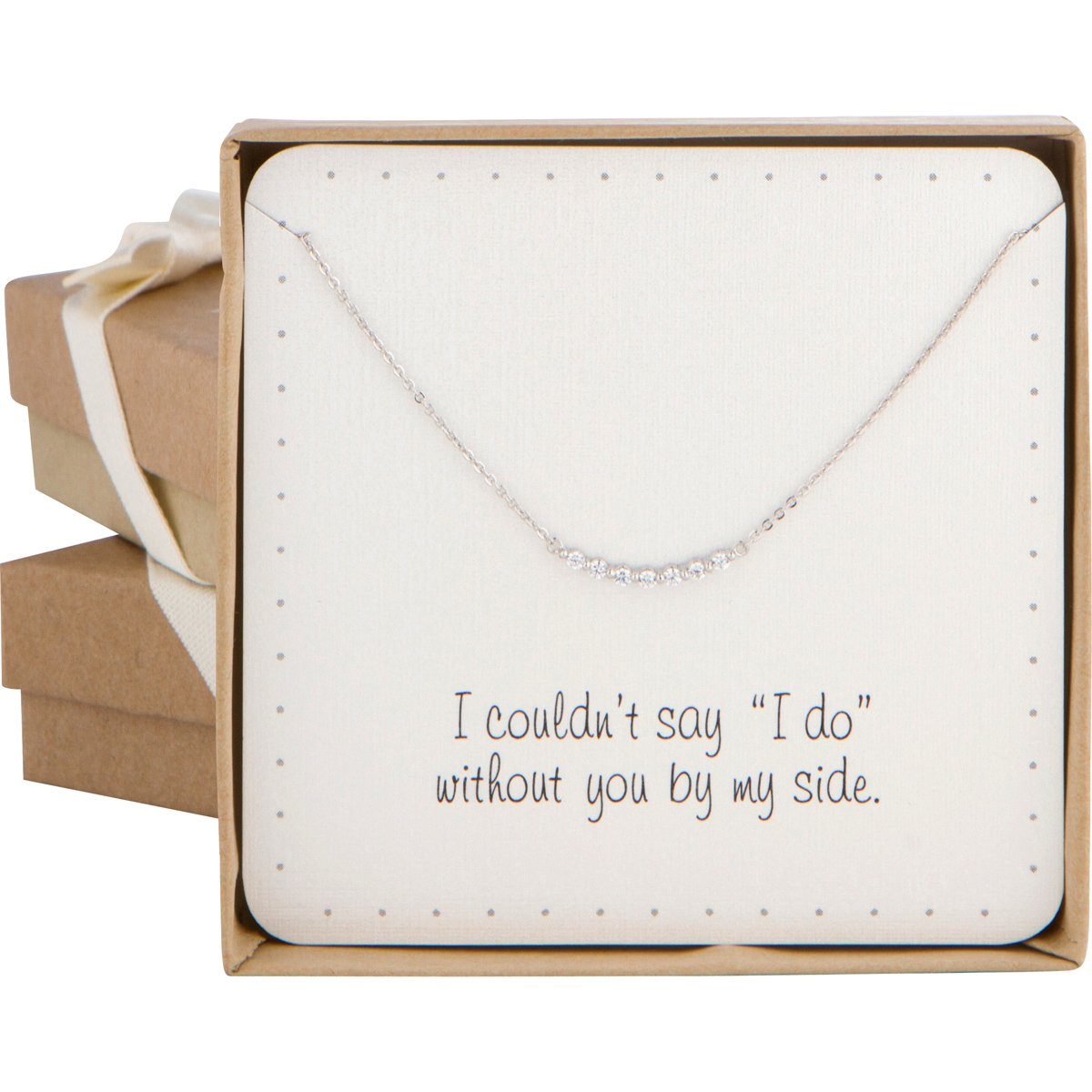Bridesmaid Gift - Super Cute Curved Bar Pave Cubic Zircon Necklace (Silver Color)