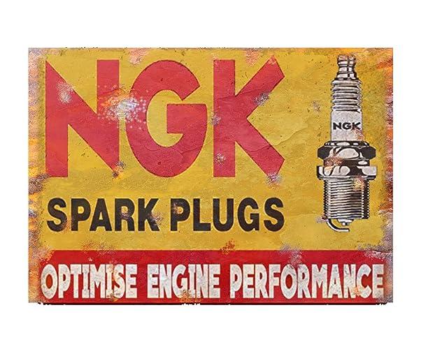 Retro metal Sign//Plaque Gift Shed Garage NGK Spark Plugs Home Motors