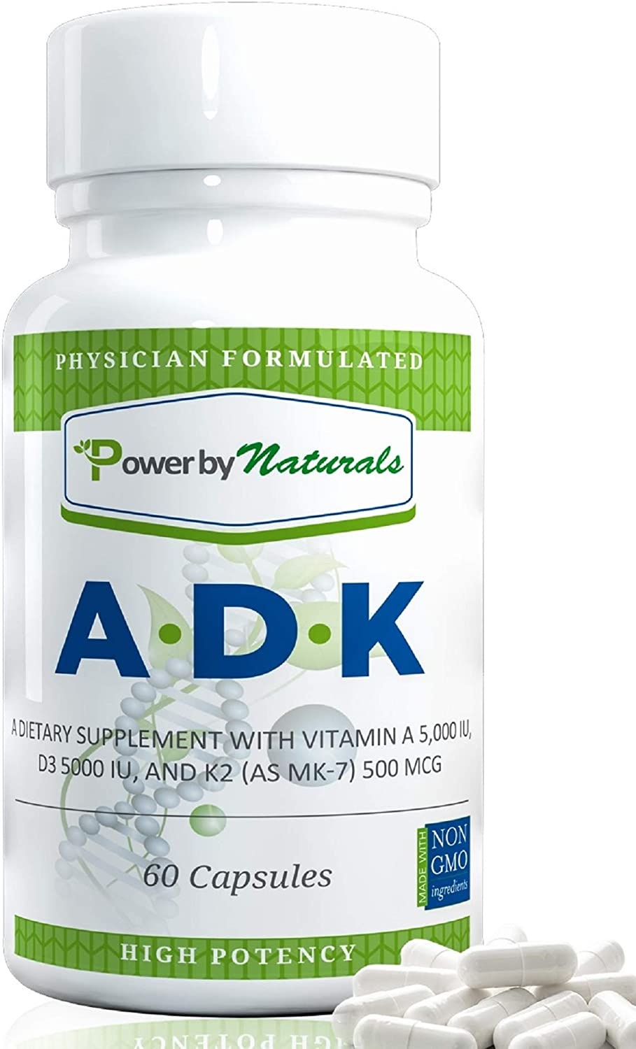 PbyN – ADK Vitamin – Dr Formulated – Purest, High Potency Vitamin A 5000 iu D3 5000 iu K2 as MK-7 500mcg, Supplement for Strong Bone, Immune, and Heart Health, Non GMO,No Soy, 60 Veggie Capsules