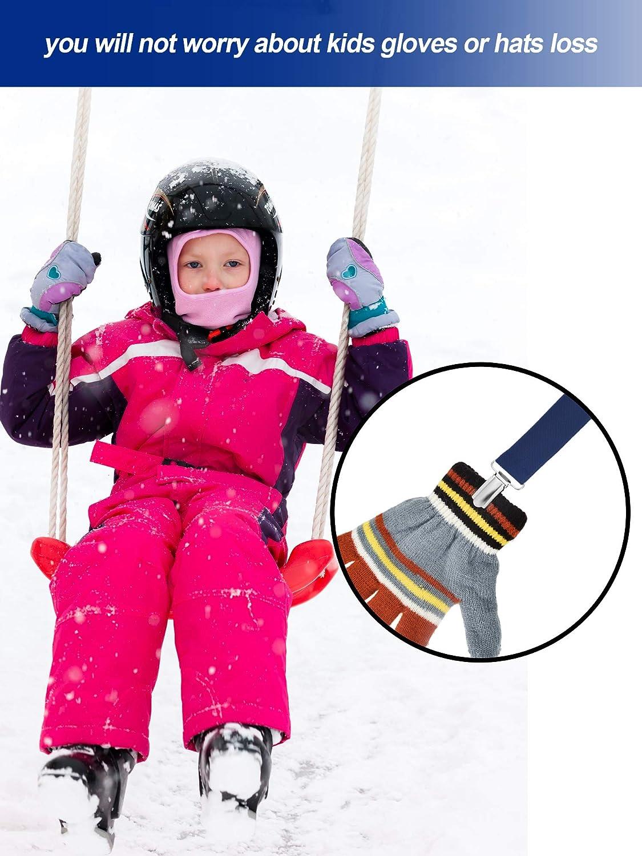 4 Pezzi Forte Acciaio Inossidabile Clip Centrali Cappucci Clip per Guanti Elastici per Baby e Bambini Blu Scuro