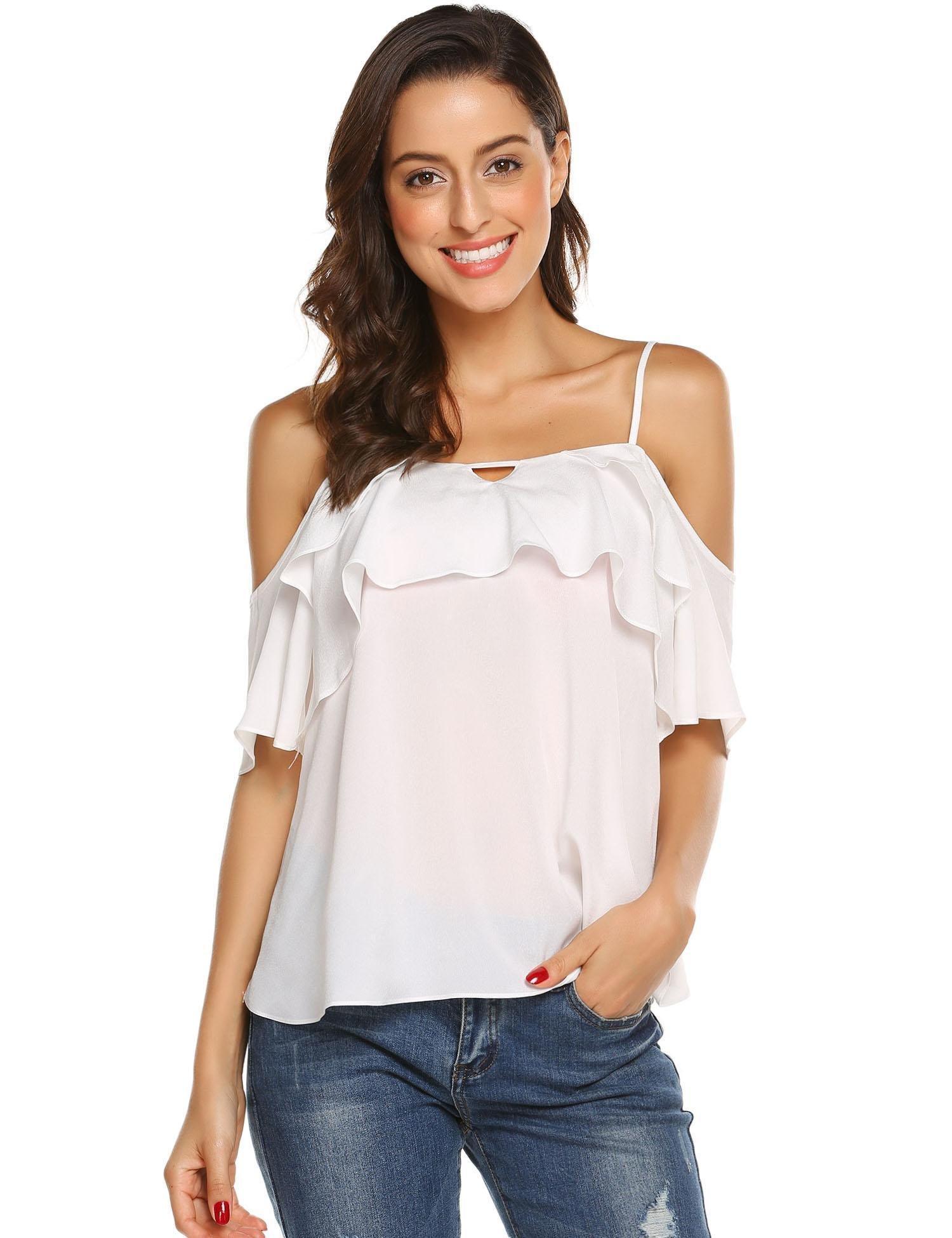 Grabsa Women's Summer Strap Cami Shirts Ruffle Chiffon Off Shoulder Blouse Tops White L