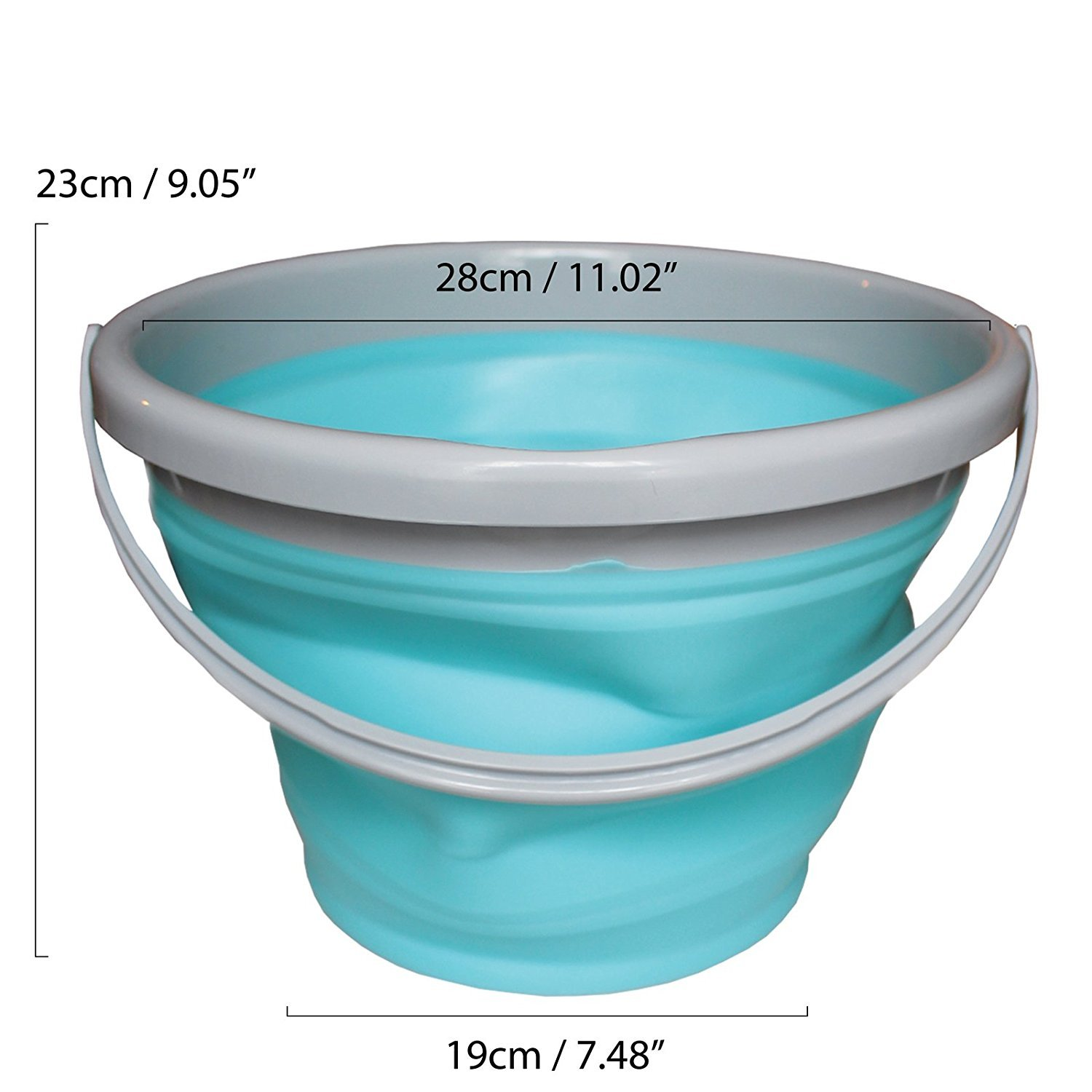 10 Litre Silicone Plastic Collapsible Folding Water Bucket by Kurtzy - 2.5 Gallon Foldable Pail for Fishing, Camping, Backpacking and Car Washing - Large Bucket Basin with Carry Handle MA-6082A
